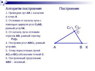 Алгоритм построения Алгоритм построения 1. Проведем луч АК с началом в точке А.