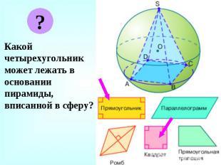 Какой четырехугольник может лежать в основании пирамиды, вписанной в сферу? Како