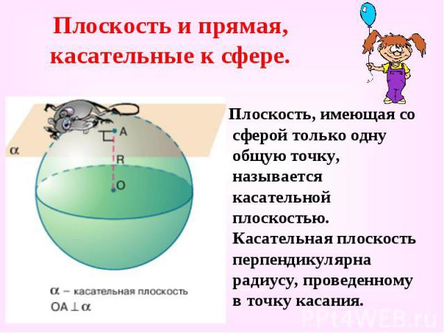 Плоскость и прямая, касательные к сфере. Плоскость, имеющая со сферой только одну общую точку, называется касательной плоскостью. Касательная плоскость перпендикулярна радиусу, проведенному в точку касания.