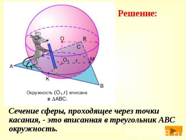 Сечение сферы, проходящее через точки касания, - это вписанная в треугольник АВС окружность. Сечение сферы, проходящее через точки касания, - это вписанная в треугольник АВС окружность.