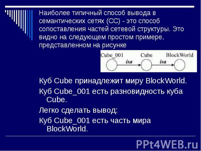 Куб Cube принадлежит миру BlockWorld. Куб Cube принадлежит миру BlockWorld. Куб Cube_001 есть разновидность куба Cube. Легко сделать вывод: Куб Cube_001 есть часть мира BlockWorld.