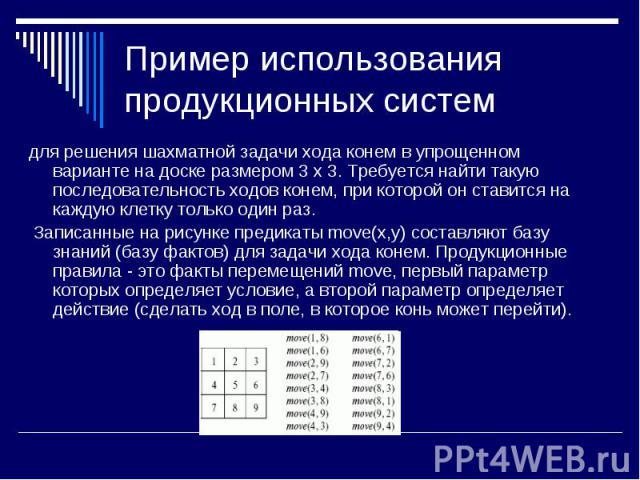 для решения шахматной задачи хода конем в упрощенном варианте на доске размером 3 x 3. Требуется найти такую последовательность ходов конем, при которой он ставится на каждую клетку только один раз. для решения шахматной задачи хода конем в упрощенн…