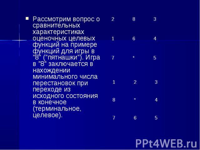 """Рассмотрим вопрос о сравнительных характеристиках оценочных целевых функций на примере функций для игры в """"8"""" (""""пятнашки""""). Игра в """"8"""" заключается в нахождении минимального числа перестановок при переходе из исходного с…"""