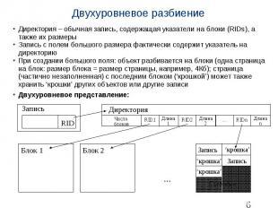 Двухуровневое разбиение Директория – обычная запись, содержащая указатели на бло