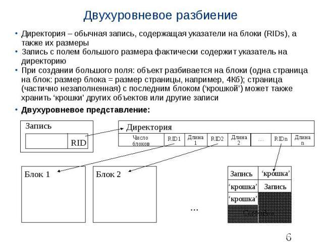 Двухуровневое разбиение Директория – обычная запись, содержащая указатели на блоки (RIDs), а также их размеры Запись с полем большого размера фактически содержит указатель на директорию При создании большого поля: объект разбивается на блоки (одна с…