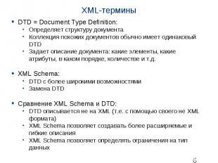XML-термины DTD = Document Type Definition: Определяет структуру документа Колле