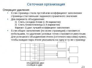 Сеточная организация Операция удаления: Если страница стала пустой или коэффицие