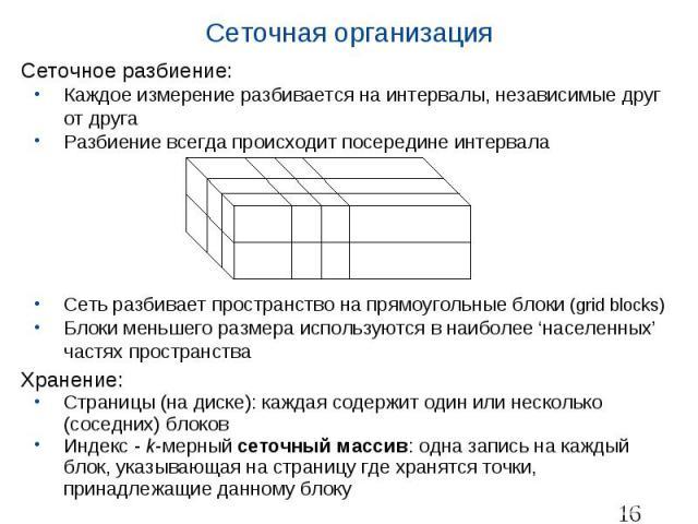 Сеточная организация Сеточное разбиение: Каждое измерение разбивается на интервалы, независимые друг от друга Разбиение всегда происходит посередине интервала Сеть разбивает пространство на прямоугольные блоки (grid blocks) Блоки меньшего размера ис…