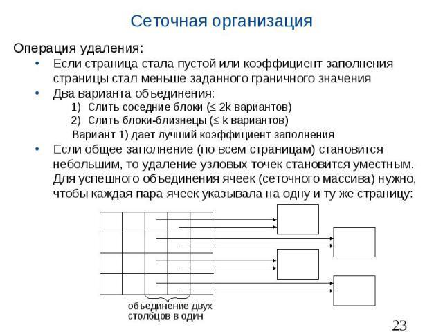 Сеточная организация Операция удаления: Если страница стала пустой или коэффициент заполнения страницы стал меньше заданного граничного значения Два варианта объединения: Слить соседние блоки ( 2k вариантов) Слить блоки-близнецы ( k вариантов) Вариа…