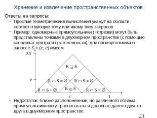 Хранение и извлечение пространственных объектов Ответы на запросы: Простые геоме