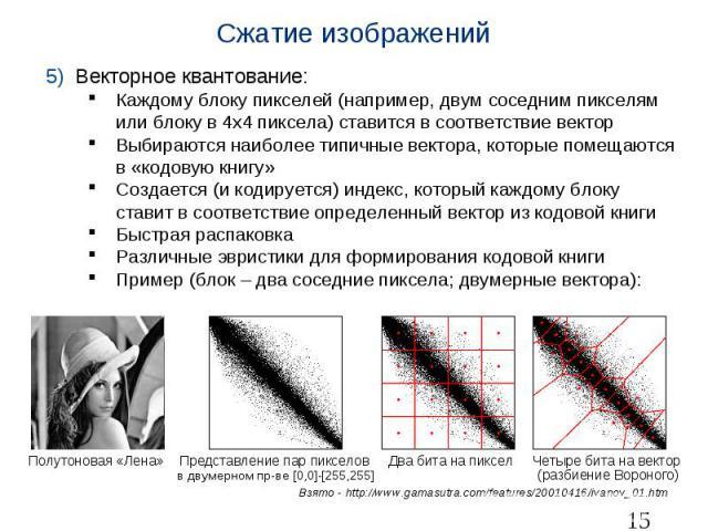 Сжатие изображений Векторное квантование: Каждому блоку пикселей (например, двум соседним пикселям или блоку в 4х4 пиксела) ставится в соответствие вектор Выбираются наиболее типичные вектора, которые помещаются в «кодовую книгу» Создается (и кодиру…
