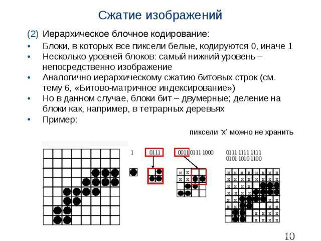 Сжатие изображений Иерархическое блочное кодирование: Блоки, в которых все пиксели белые, кодируются 0, иначе 1 Несколько уровней блоков: самый нижний уровень – непосредственно изображение Аналогично иерархическому сжатию битовых строк (см. тему 6, …