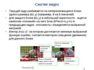 Сжатие видео Текущий кадр разбивается на непересекающиеся блоки одного размера B