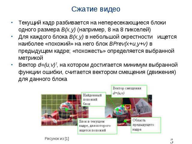 Сжатие видео Текущий кадр разбивается на непересекающиеся блоки одного размера B(x,y) (например, 8 на 8 пикселей) Для каждого блока B(x,y) в небольшой окрестности ищется наиболее «похожий» на него блок BPrev(x+u,y+v) в предыдущем кадре; «похожесть» …