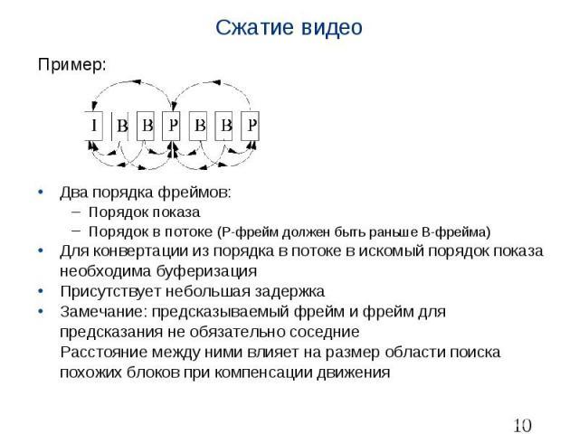 Сжатие видео Пример: Два порядка фреймов: Порядок показа Порядок в потоке (P-фрейм должен быть раньше B-фрейма) Для конвертации из порядка в потоке в искомый порядок показа необходима буферизация Присутствует небольшая задержка Замечание: предсказыв…