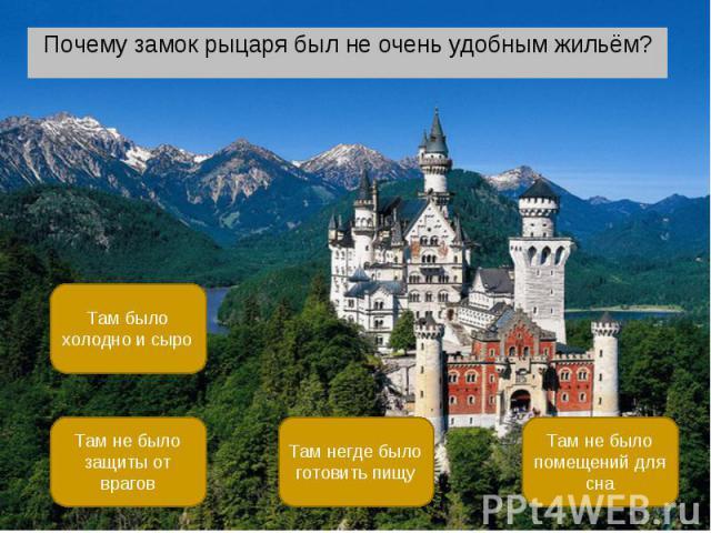 Почему замок рыцаря был не очень удобным жильём? Почему замок рыцаря был не очень удобным жильём?