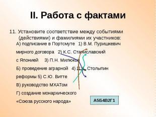 II. Работа с фактами 11. Установите соответствие между событиями (действиями) и