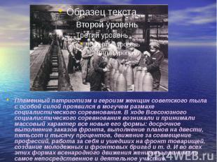 Пламенный патриотизм и героизм женщин советского тыла с особой силой проявился в