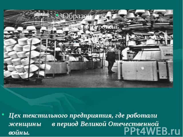 Цех текстильного предприятия, где работали женщины в период Великой Отечественной войны.