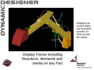 Display Forces including Reactions, Moments and Inertia on any Part Displayed as