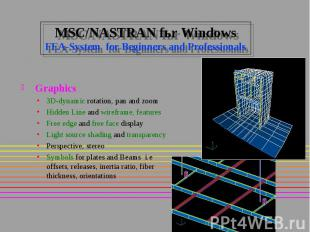 MSC/NASTRAN fьr Windows FEA-System for Beginners and Professionals Graphics 3D-d