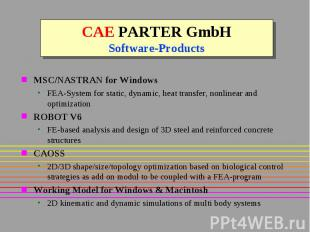 CAE PARTER GmbH Software-Products MSC/NASTRAN for Windows FEA-System for static,