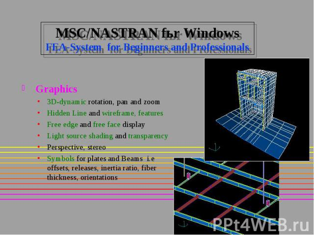 MSC/NASTRAN fьr Windows FEA-System for Beginners and Professionals Graphics 3D-dynamic rotation, pan and zoom Hidden Line and wireframe, features Free edge and free face display Light source shading and transparency Perspective, stereo Symbols for p…