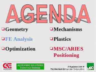 Geometry Geometry FE Analysis Optimization