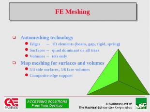 FE Meshing Automeshing technology Edges -- 1D elements (beam, gap, rigid, spring