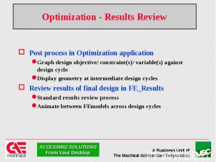 Optimization - Results Review Post process in Optimization application Graph des