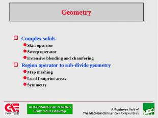 Geometry Complex solids Skin operator Sweep operator Extensive blending and cham