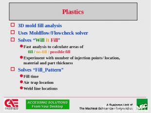 """Plastics 3D mold fill analysis Uses Moldflow/Flowcheck solver Solves """"Will It Fi"""