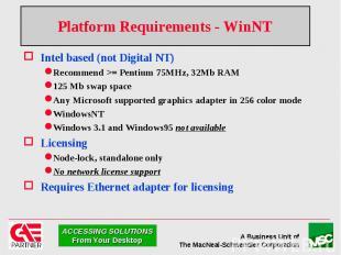Platform Requirements - WinNT Intel based (not Digital NT) Recommend >= Penti