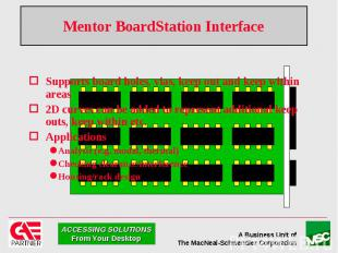 Mentor BoardStation Interface Supports board holes, vias, keep out and keep with