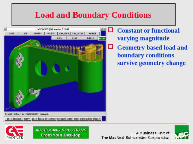 Load and Boundary Conditions Constant or functional varying magnitude Geometry based load and boundary conditions survive geometry change