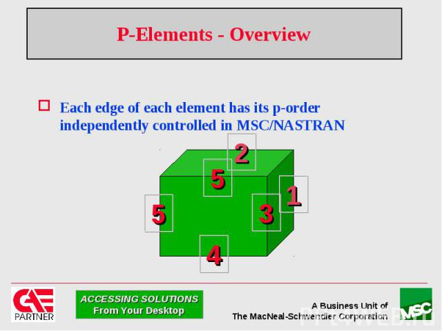 P-Elements - Overview Each edge of each element has its p-order independently controlled in MSC/NASTRAN