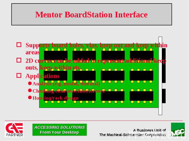 Mentor BoardStation Interface Supports board holes, vias, keep out and keep within areas 2D curves can be added to represent additional keep outs, keep within etc. Applications Analysis (e.g. modal, thermal) Checking clearance/interference Housing/r…