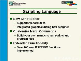 Scripting Language New Script Editor Supports vb form files Integrated graphical