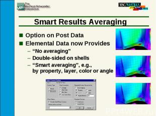 "Smart Results Averaging Option on Post Data Elemental Data now Provides ""No aver"