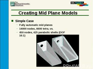 Creating Mid Plane Models Simple Case Fully automatic mid planes 14000 nodes, 66