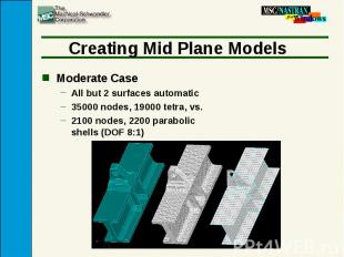 Creating Mid Plane Models Moderate Case All but 2 surfaces automatic 35000 nodes