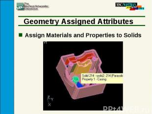 Geometry Assigned Attributes Assign Materials and Properties to Solids
