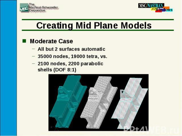 Creating Mid Plane Models Moderate Case All but 2 surfaces automatic 35000 nodes, 19000 tetra, vs. 2100 nodes, 2200 parabolic shells (DOF 8:1)