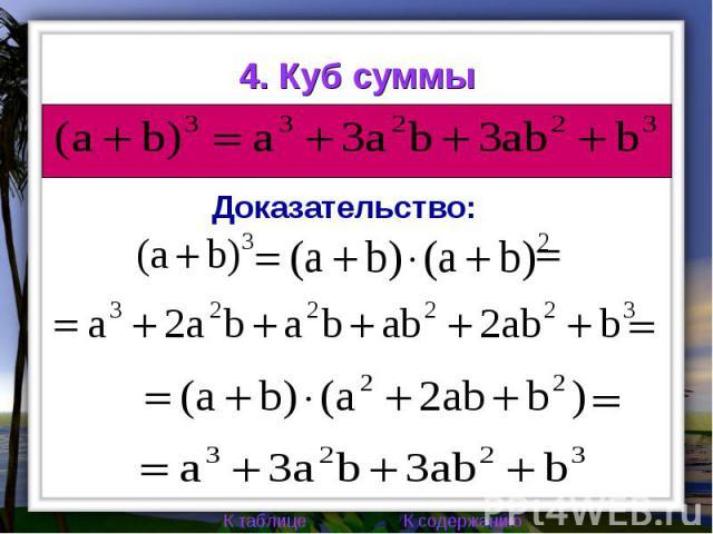 4. Куб суммы