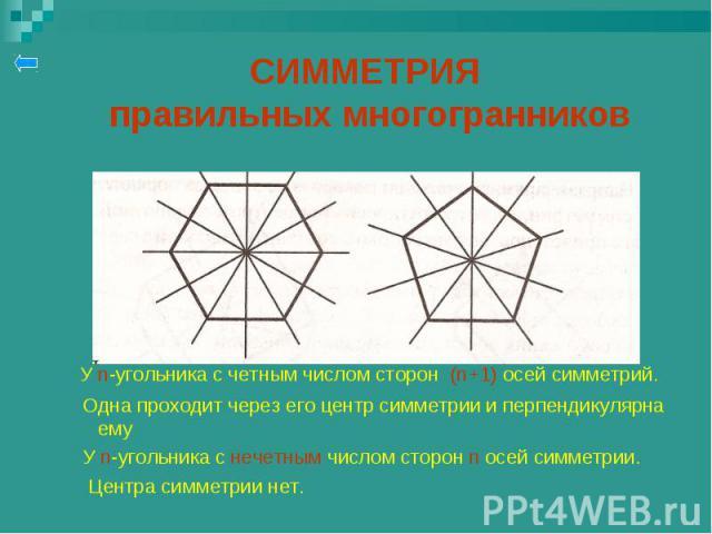 У n-угольника с четным числом сторон (n+1) осей симметрий. У n-угольника с четным числом сторон (n+1) осей симметрий. Одна проходит через его центр симметрии и перпендикулярна ему У n-угольника с нечетным числом сторон n осей симметрии. Центра симме…