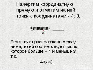 Начертим координатную прямую и отметим на ней точки с координатами - 4; 3. Если