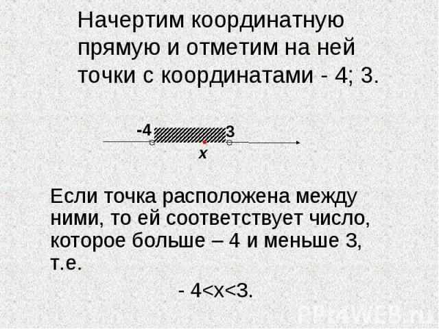 Начертим координатную прямую и отметим на ней точки с координатами - 4; 3. Если точка расположена между ними, то ей соответствует число, которое больше – 4 и меньше 3, т.е. - 4<х<3.