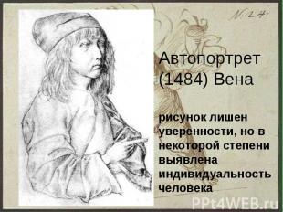 Автопортрет (1484) Вена рисунок лишен уверенности, но в некоторой степени выявле