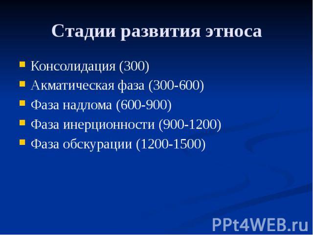 Стадии развития этноса Консолидация (300) Акматическая фаза (300-600) Фаза надлома (600-900) Фаза инерционности (900-1200) Фаза обскурации (1200-1500)
