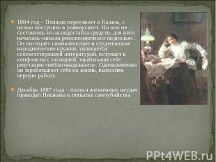 1884 год – Пешков переезжает в Казань, с целью поступить в университет. Но оно н